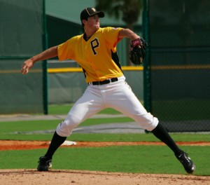 Clayton Holmes threw six shutout innings on Saturday