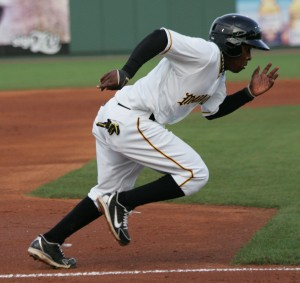 Gift Ngoepe scoring on a sacrifice fly in the first.
