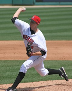 Tim Alderson made his first appearance with Indianapolis since being promoted from Altoona.