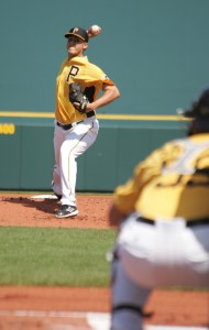 Jameson Taillon had a rough first inning, but settled down after that in his Triple-A debut.