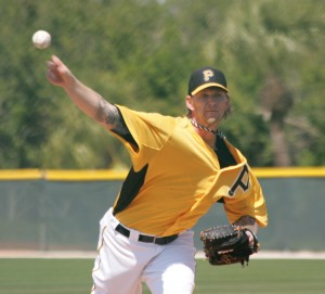 A.J. Burnett threw five innings today at Pirate City.
