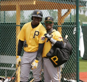 I started to take a picture of Gregory Polanco (left), then Alen Hanson (right) ran up and got Polanco to pose for this picture.