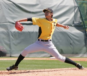 Wei-Chung Wang, flashing a red glove with a Pirates logo on the web.