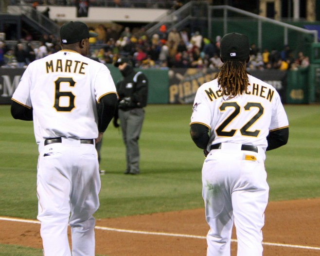 Starling Marte and Andrew McCutchen were shut out in the Gold Glove races.  Photo credit: David Hague