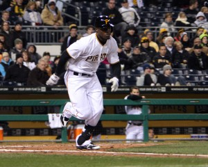 Starling Marte had two hits, including a two-run double in the fourth, in the Pirates 6-5 win at Arizona. Photo credit: David Hague