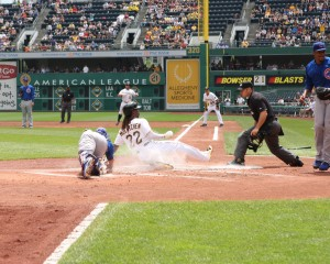 Andrew McCutchen stole two more bases Thursday, and scored one of the four runs. (Photo Credit: David Hague)