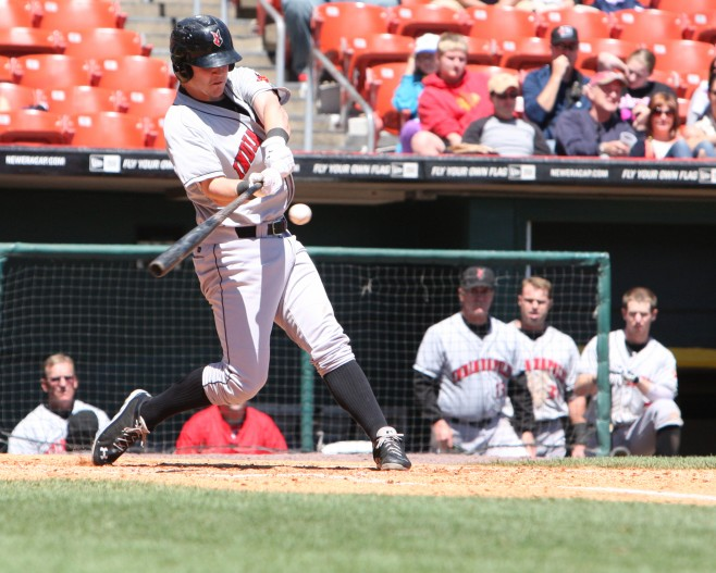 Jerry Sands has seven RBIs this Winter (Photo Credit: David Hague)