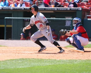 Jared Goedert reached base three times in game one (Photo Credit: David Hague)