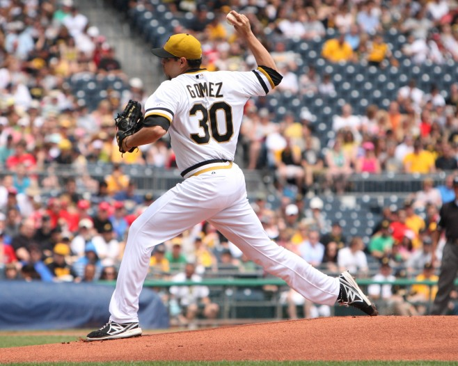 Jeanmar Gomez could not pitch past the first inning Sunday.
