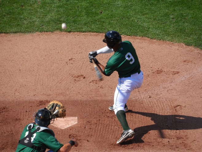 Elvis Escobar (batting) will be one of the top prospects in Jamestown this year.