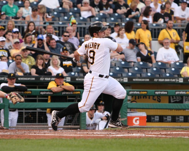 Michael McKenry had a big night at the plate, but also tweaked his knee. (Photo by: David Hague)