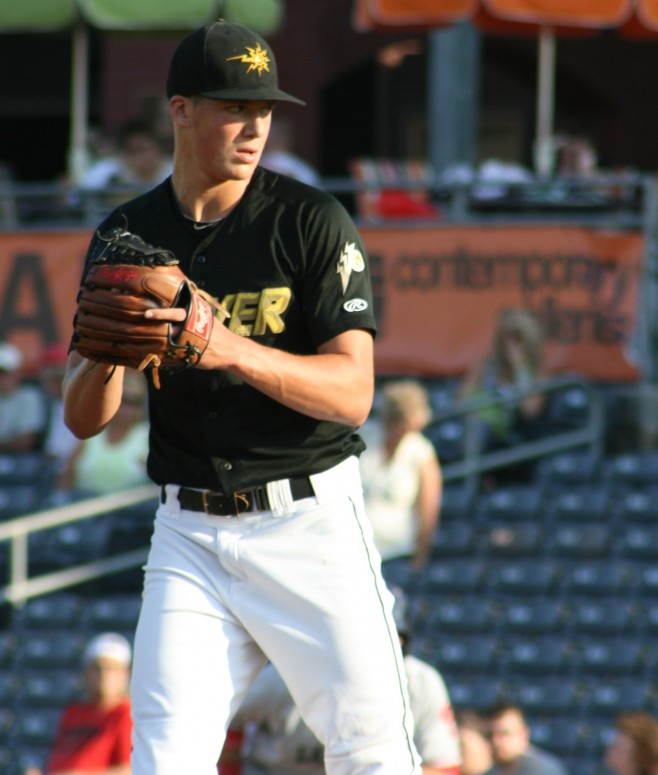 Baseball Prospectus named Tyler Glasnow as one of ten prospects who exceeded expectations this year.  (Photo Credit: Tom Bragg)