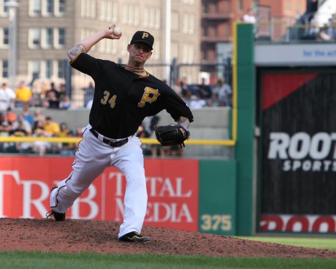 A.J. Burnett has had trouble avoiding the big inning lately. (Photo Credit: David Hague)