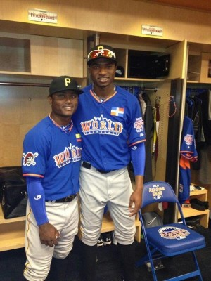 Gregory Polanco (right) and Dilson Herrera (left) at the 2013 Futures Game.