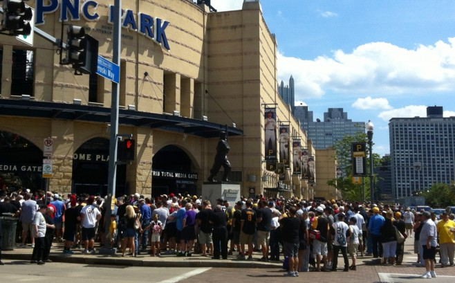 Fans outside PNC Park fill up to the streets trying to enter.