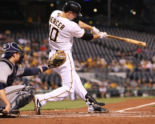 Jordy Mercer could be one of the top ten shortstops in baseball if he puts up his 2013 results over a full season in 2014. (Photo Credit: David Hague)