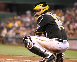 John Buck went 3-for-3 in his Pirates debut to account for half of Pittsburgh's hits. (Photo Credit: David Hague)