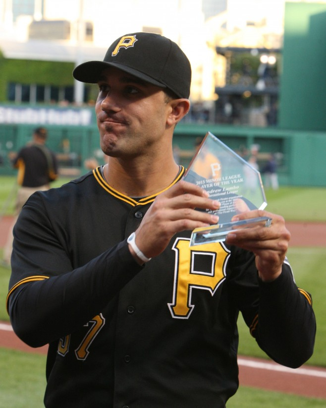 Andrew Lambo is the top internal option for the Pirates' first base position. (Photo Credit: David Hague)