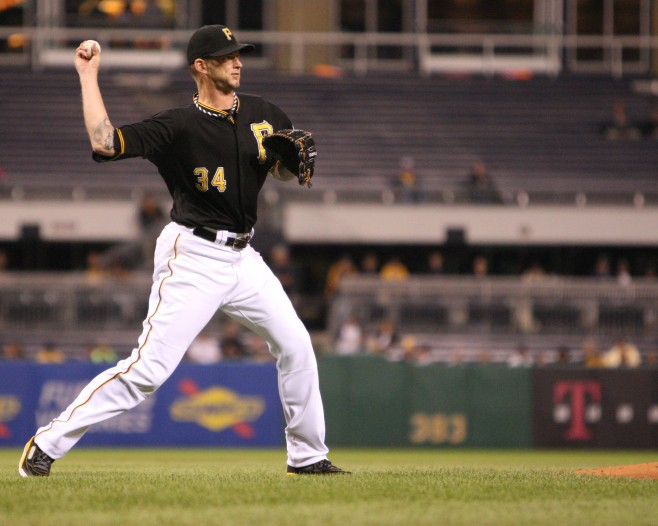 A.J. Burnett was left in for too long in the third inning. (Photo Credit: David Hague)