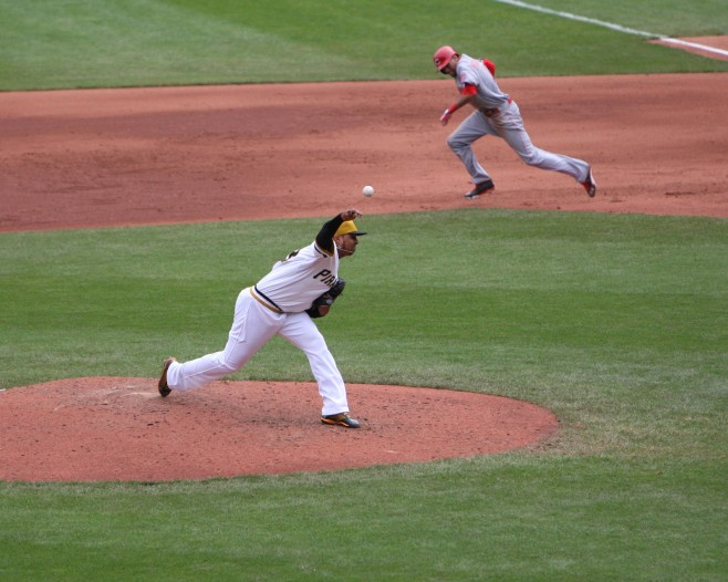 Billy Hamilton steals one of two bases today against the Pirates. (Photo Credit: David Hague)