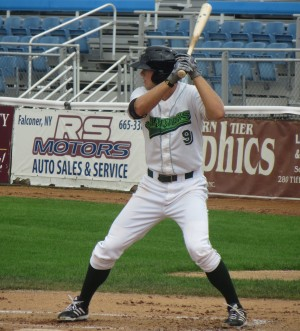 Austin Meadows had a hit in all eight games with Jamestown. (Photo Credit: Matt Brown)