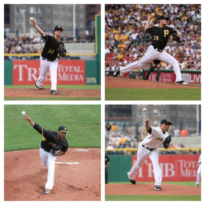 One of these four relievers could be dealt in the next two weeks if everyone in the bullpen stays healthy. Photo Credits: David Hague (Mazzaro, Gomez, Morris), Tim Williams (Pimentel)