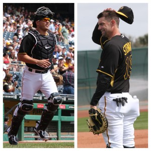 The Pirates are going to have to make a decision on their backup catcher spot in the next week. Photo Credits: David Hague (Sanchez), WTM (Stewart).