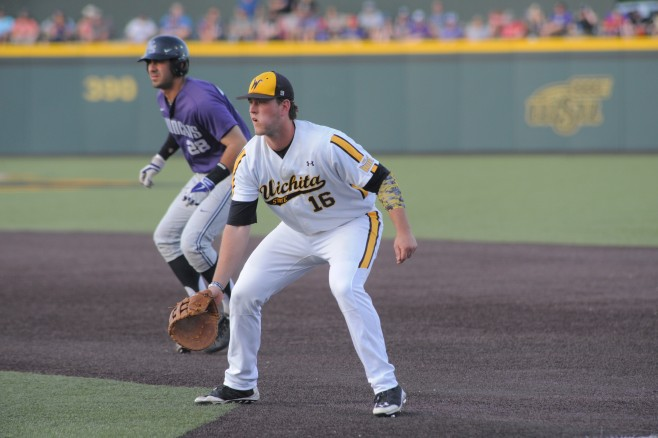 Casey Gillaspie hit his 15th homer on Saturday- Photo Credit: Wichita State