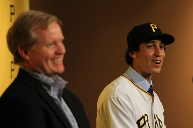 Neal Huntington and Cole Tucker
