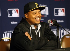 Edinson Volquez answering questions during his press conference yesterday. (Photo by: David Hague)