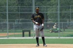 Josh Bell spent time getting use to first base in the AFL. (Photo Credit: Mike Farnham)